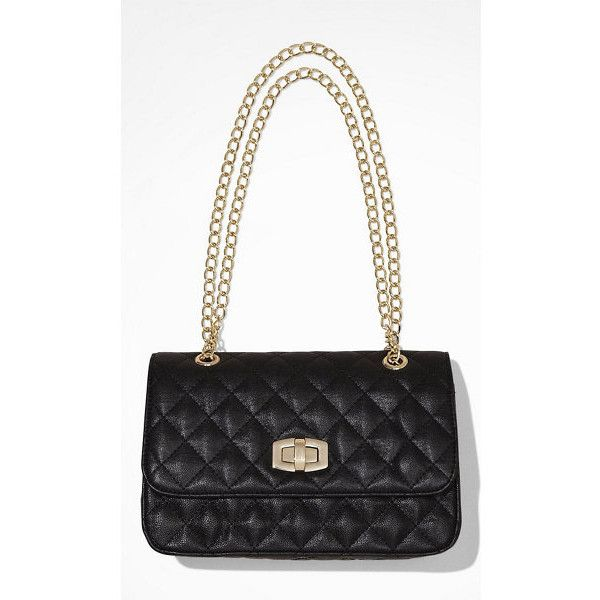 Express Quilted Chain Strap Shoulder Bag 50 Liked On Polyvore Featuring Bags Handbags Black