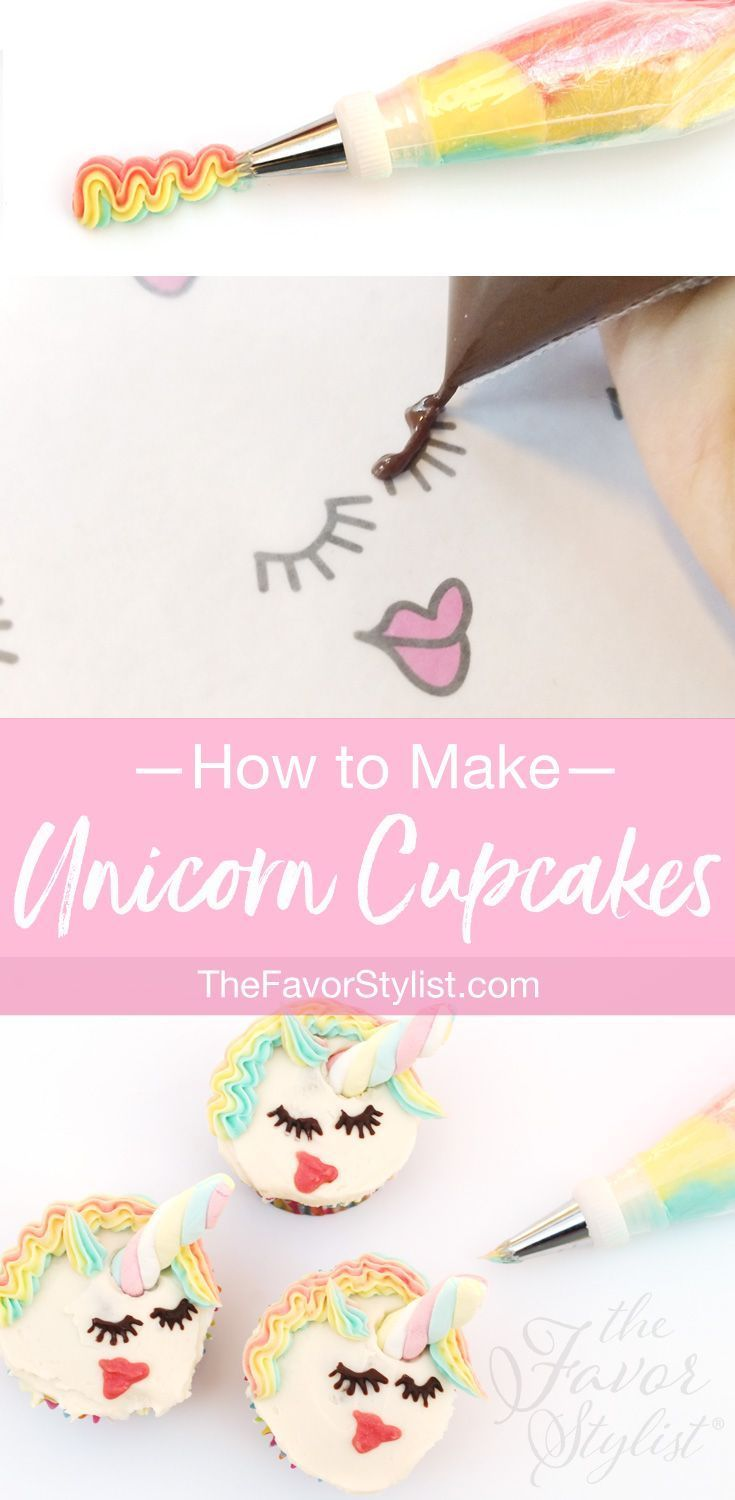 How to Make Unicorn Cupcakes - Rainbow themed party food, Rainbow theme party, Unicorn cupcakes, Kids spa party, Rainbow party favors, Rainbow theme party decorations - If your birthday kid would enjoy a magical party—with rainbows and sparkle and candies and, of course, unicorns—then you need to make these easypeasy Unicorn Cupcakes
