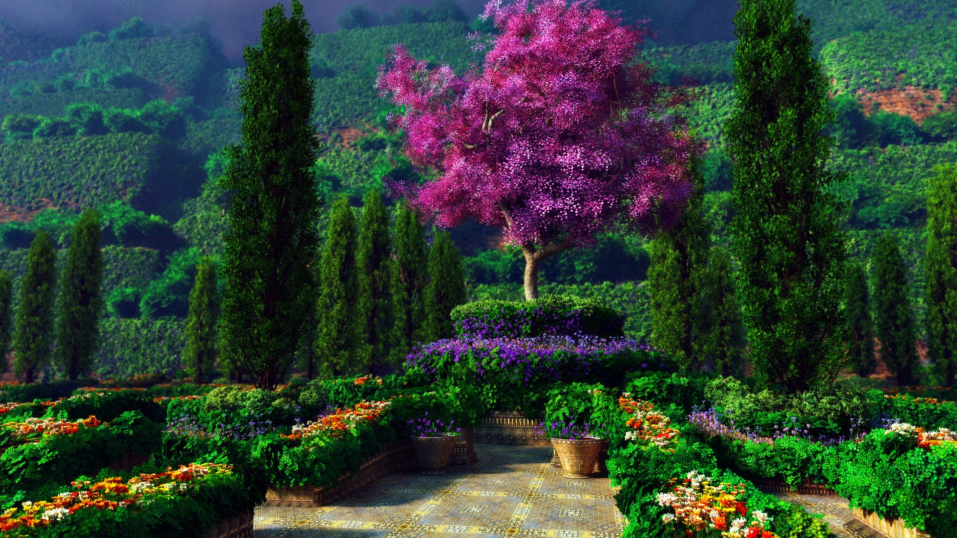 Beautiful garden wallpaper viewing gallery beautiful for Beautiful flower landscapes