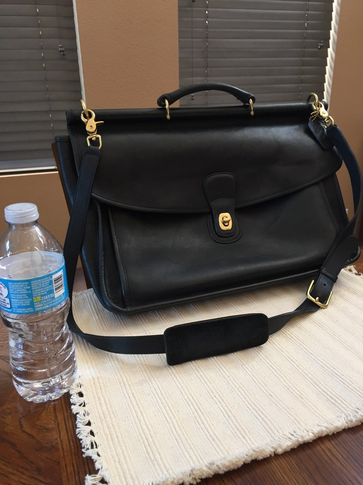Vintage Beekman Coach Briefcase Black Leather Crossbody Messenger Bag  Briefcase