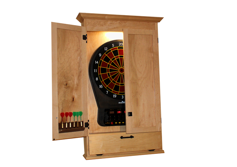 Build A Simple Dartboard Cabinet Woodworkers Guild Of America Dart Board Cabinet Dart Board Dartboard Cabinet Diy