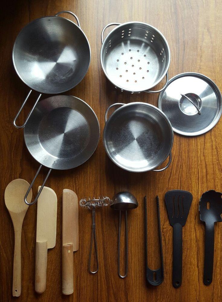 13 x Pieces IKEA DUKTIG Kids Stainless Steel Cookware Pots