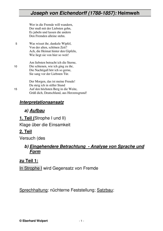 Eichendorff Heimweh Materialien Zur Gedichtinterpretation Unterrichtsmaterial Im Fach Deutsch Heimweh Eichendorff Gedichte