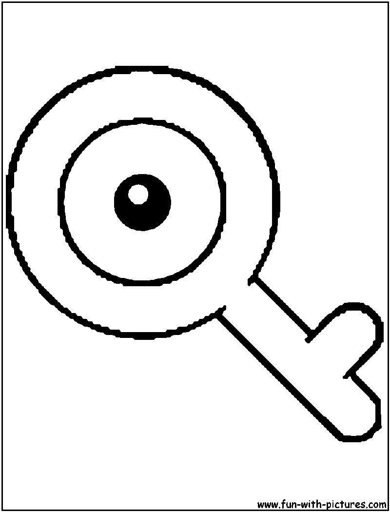 Unown Q Coloring Page Alphabet Q Pinterest Pokmon and