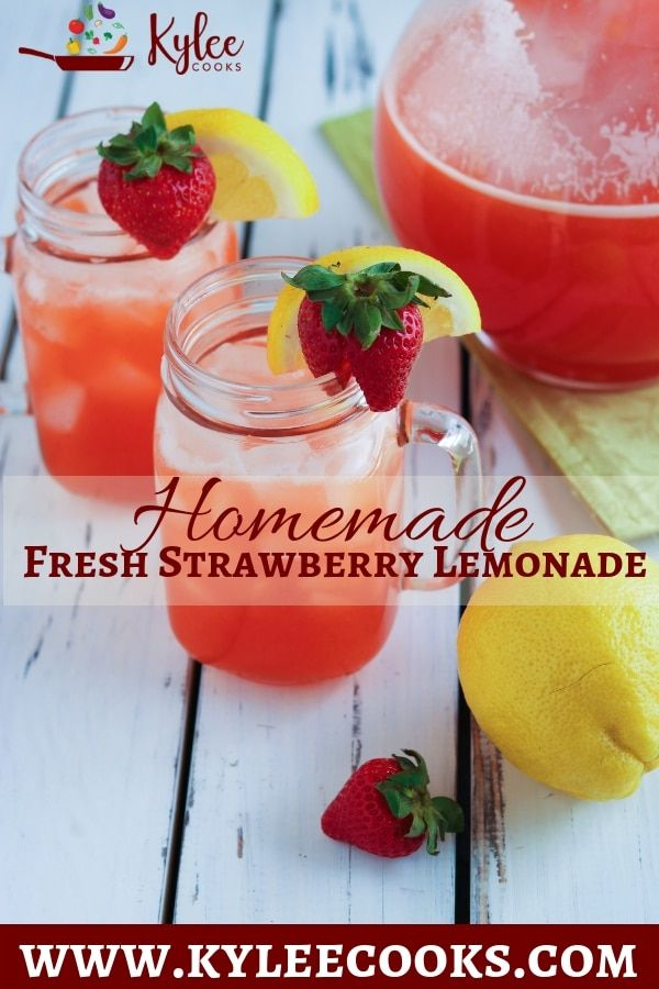 Homemade Strawberry Lemonade Recipe (from scratch!) | Kylee Cooks