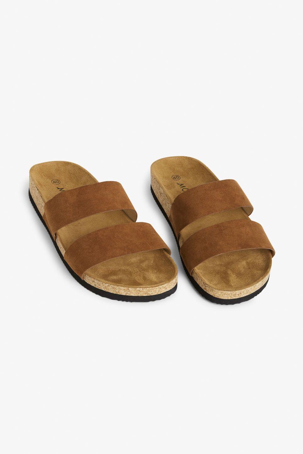 Flat cork sandals - Brown caramel