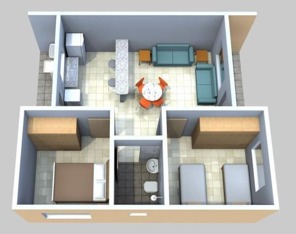 Dise o de casa de 42 metros cuadrados planos de casas for Diseno de apartamentos de 90 metros cuadrados