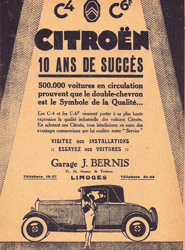 Citroen C4 et C6, 10 ans de succès ! publicité du programme Cirque théâtre de Limoges, 1929 - Bfm Limoges.