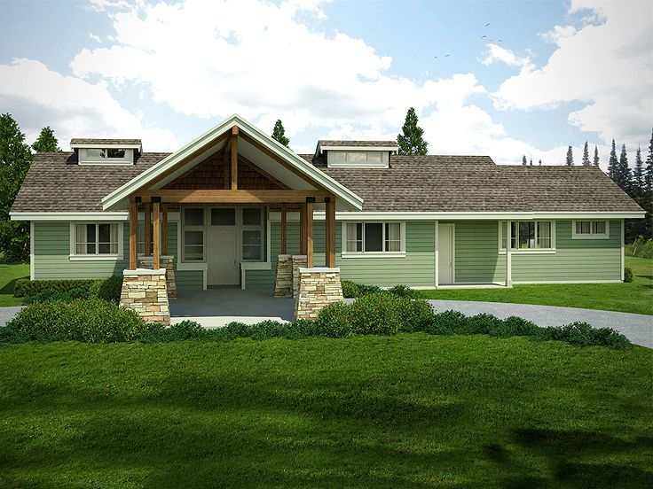 051h 0248 Empty Nester House Plan With Guest Suite Craftsman Style House Plans Craftsman House Plans Ranch House Plan
