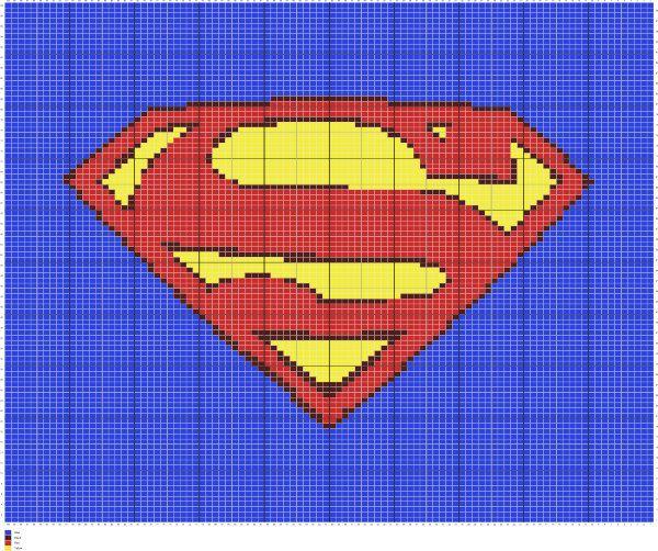 Knit Superman Symbol Written Graph Pattern, Superman Symbol Afghan ...