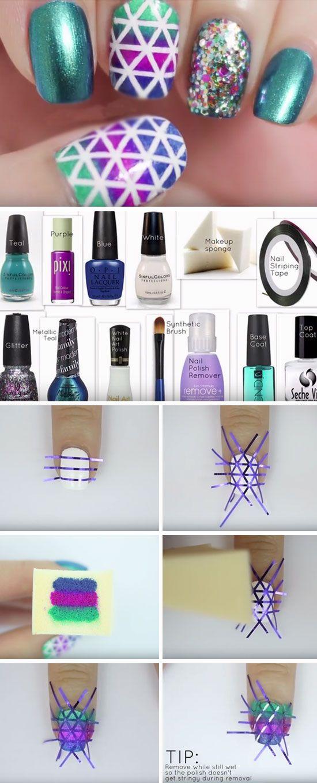 Geometric Nails 20 Diy Christmas Nail Art Ideas For Short Nails Christmas Nails Diy Diy Christmas Nail Art Nail Designs