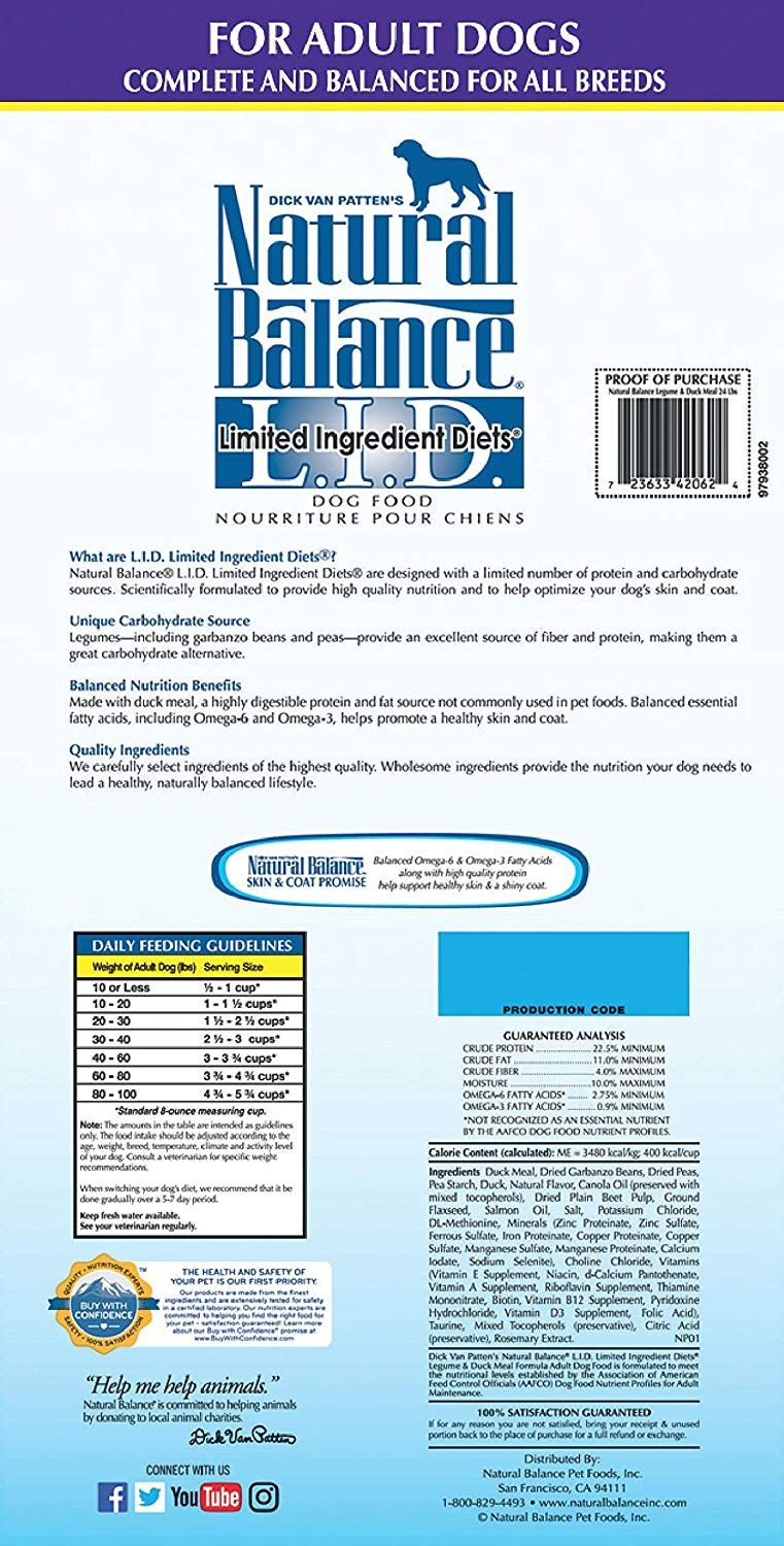 Natural Balance Limited Ingredient Diets Dry Dog Food Legume And