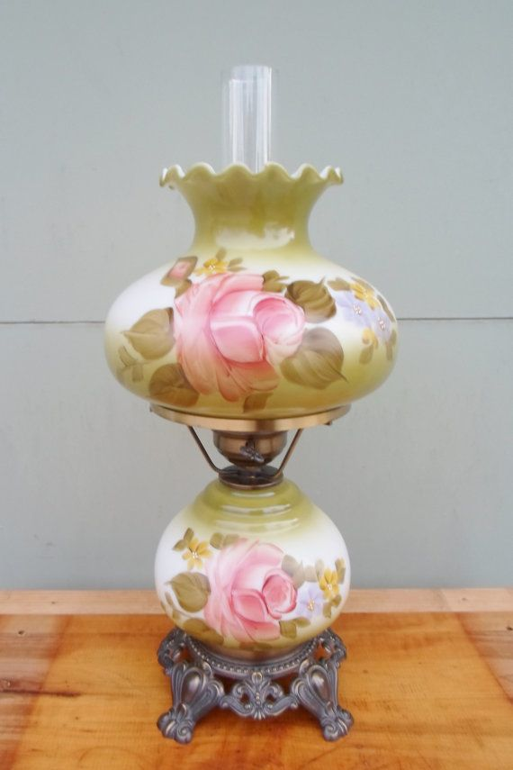 Vintage Gone With The Wind Lamp Hurricane Lamp Hand Painted Etsy Hurricane Lamps Antique Hurricane Lamps Vintage Hurricane Lamps