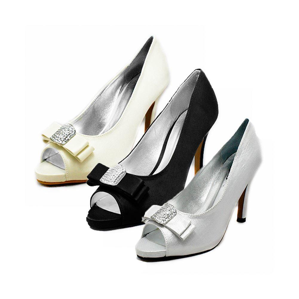 SendIt4Me Black Satin Peep Toe Court Shoes With Diamante Bow BdZHPjrCL