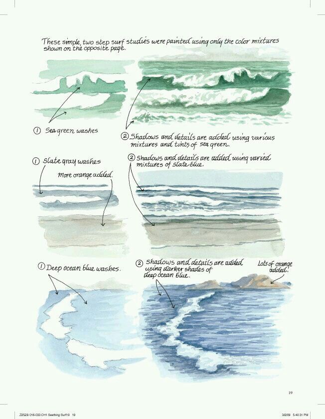 Painting Water In Watercolour Crashing Waves Part 2 Youtube
