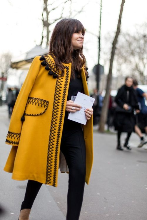 #yellow #coat #details