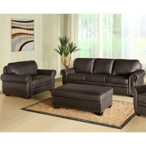 Abbyson Living Austin Premium Leather Sofa Chair Ottoman Set By