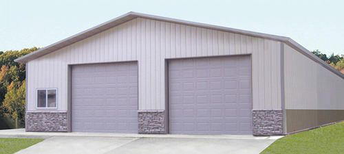 Ideal Door 10 Ft X 10 Ft 4 Star Sandtone Raised Pnl Non Insul Torsion Garage Door At Menards Post Frame Building Garage Doors Building Materials