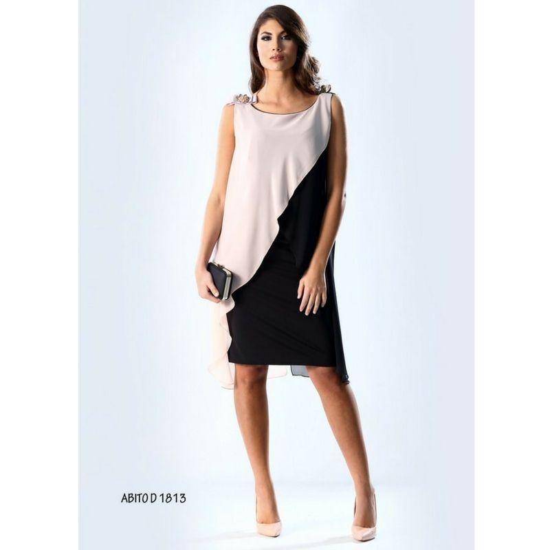 Vestito cerimonia donna bicolore taglie forti Abito elegante bicolore rosa  e nero Senza maniche Spilla su d4ee0ff2ad0