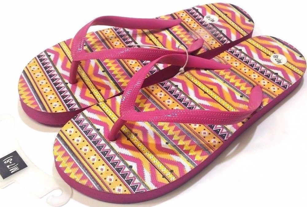 50cfde2124c9 Women s Flip Flop Hot Pink and Multi Color Footbed Summer US Size 7-8  Medium New
