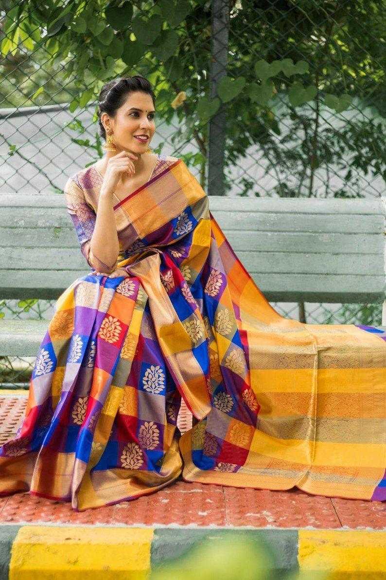 Heavy PURE Soft SILK Jacquard Weaving Saree Bridal Gift Occasional Wear Wedding Sari with Designer Blouse