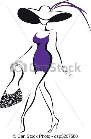 Vector  mujer sombrero  stock de ilustracion ilustracion libre
