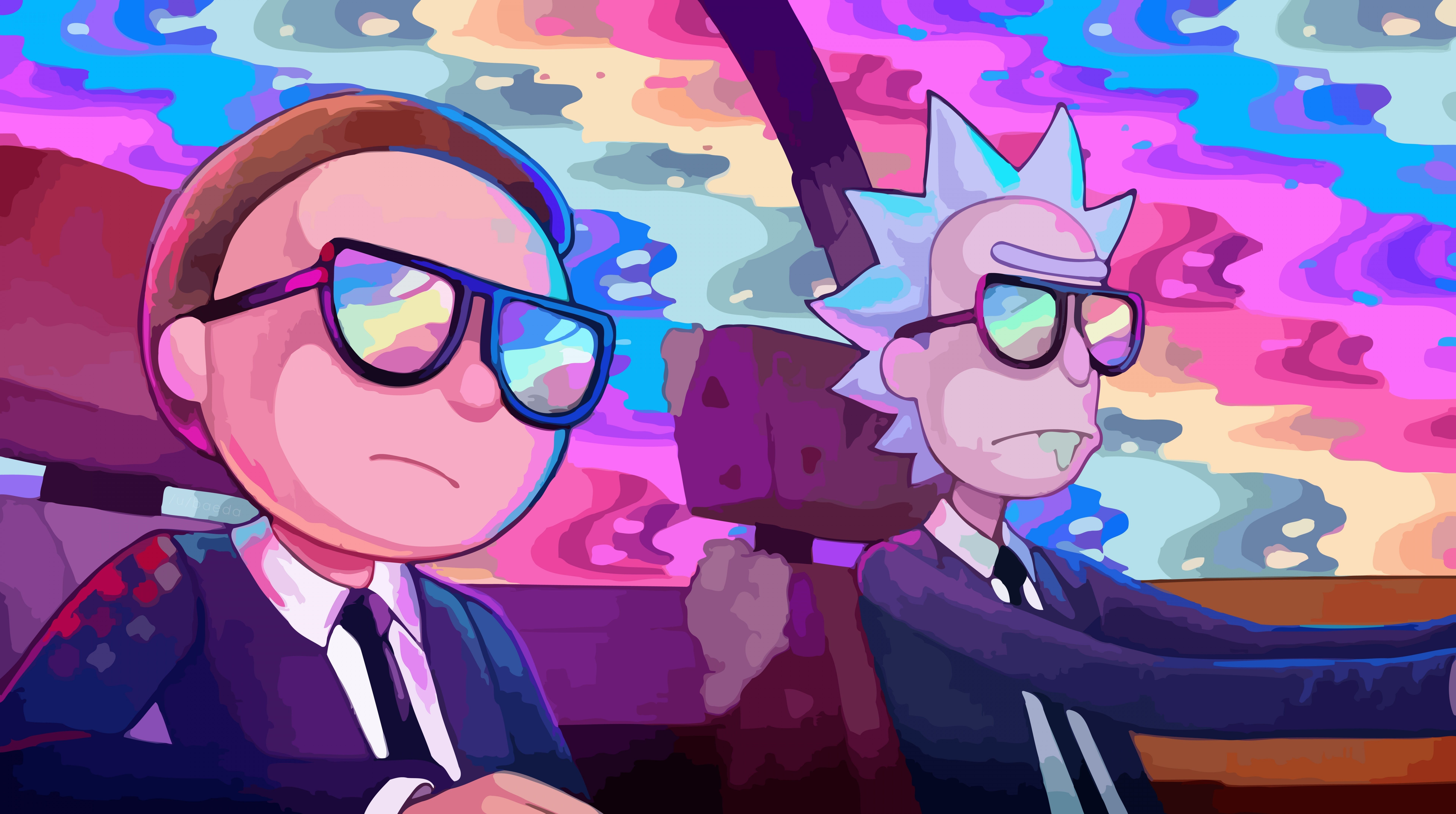 Rick And Morty Car Rainbow Cartoons Others Rainbow Cool Morty Rick 8k Wallpaper Hdwallpaper Desk Rick And Morty Rick And Morty Poster Rainbow Cartoon
