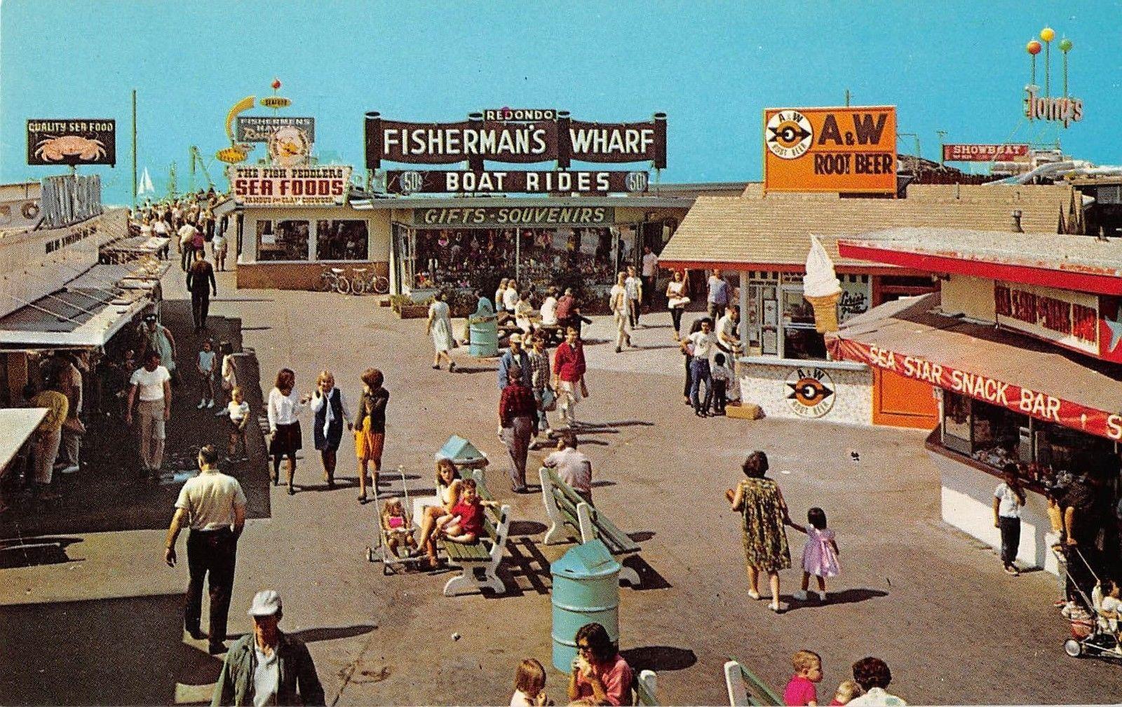 Redondo Beach California Fisherman S Wharf Vintage Postcard