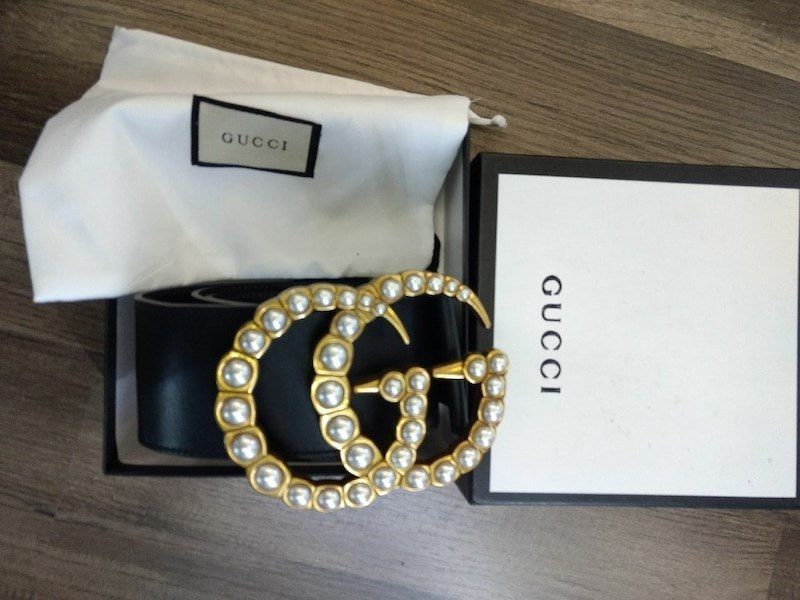 db1571379a5 Gorgeous Gucci Marmont belt with pearls size 36  fashion  clothing  shoes   accessories
