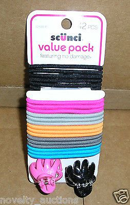 H70 ONE PACK OF SCUNCI pink  PONYTAIL HOLDERS WITH 2 CLIPS 42 PIECE SET 52588