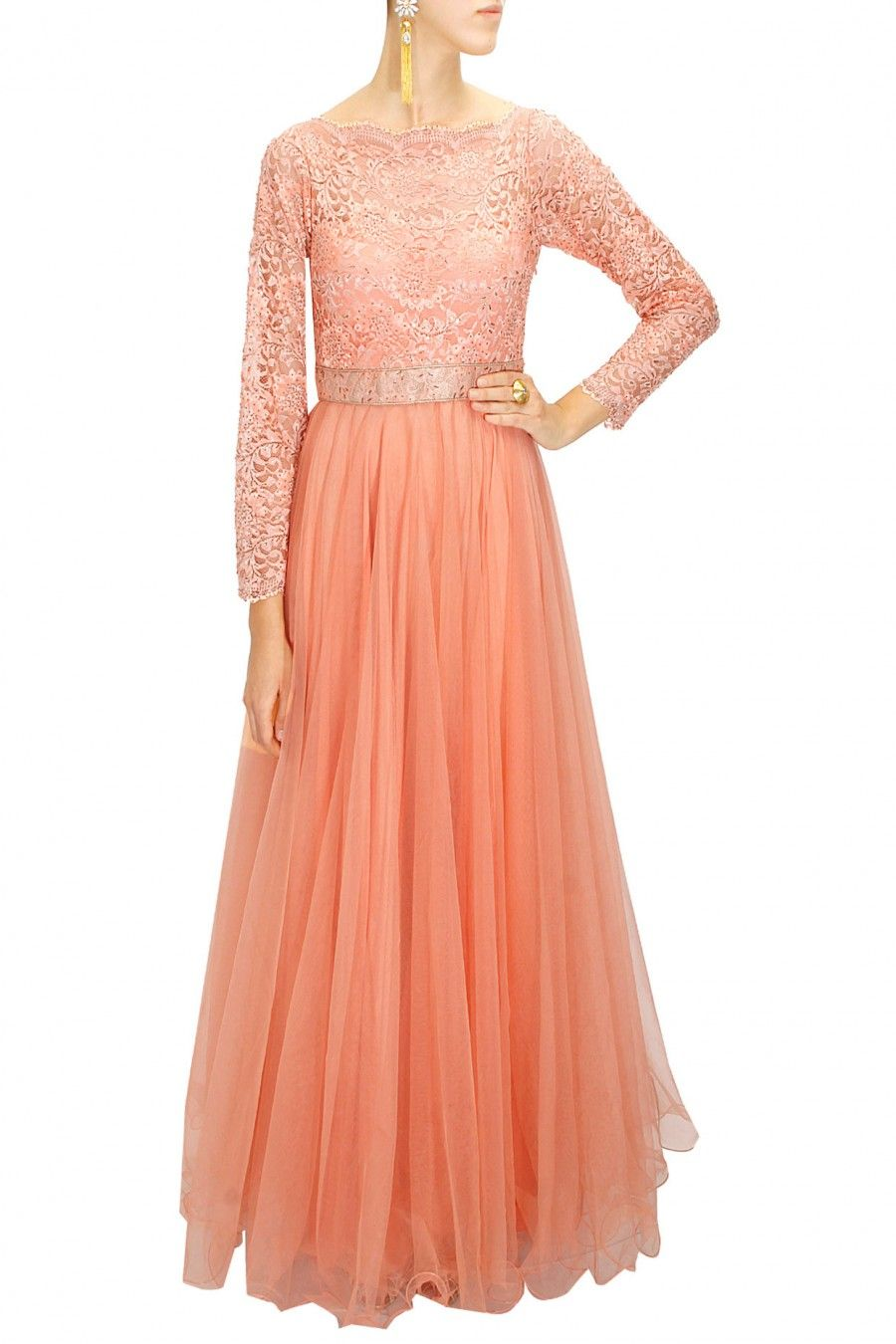 Peach crystal embellished chantilly lace gown by Diva'ni ...