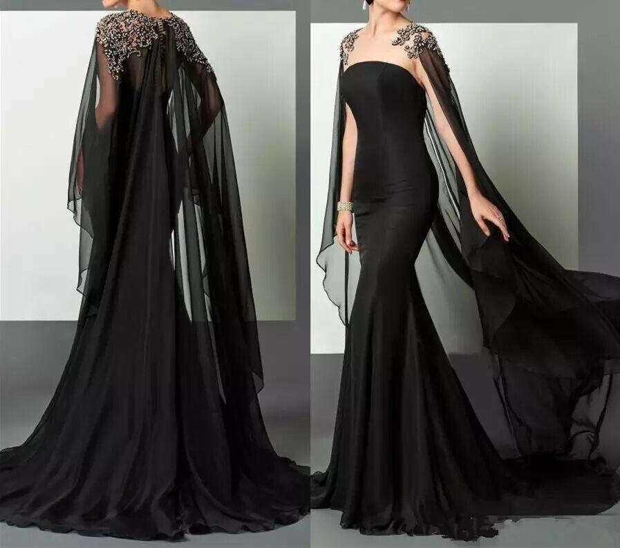 2018 Black Mermaid Arabic Evening Dresses Elie Saab Beaded Chiffon ...
