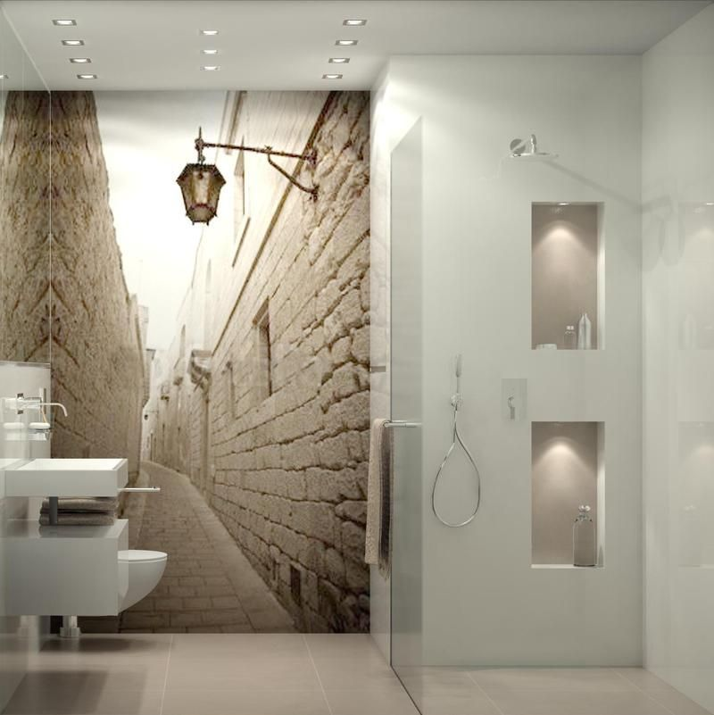 behang in de badkamer | Behang | Pinterest | Badezimmer, Gäste wc ...