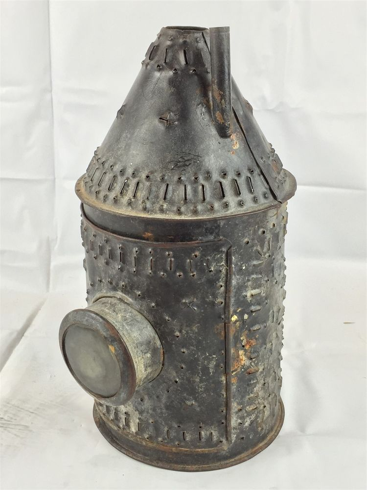 Antique 18th C Paul Revere Punched Tin Lantern Double Glass Lens Colonial Era Primitive Candles Antiques Punched Tin