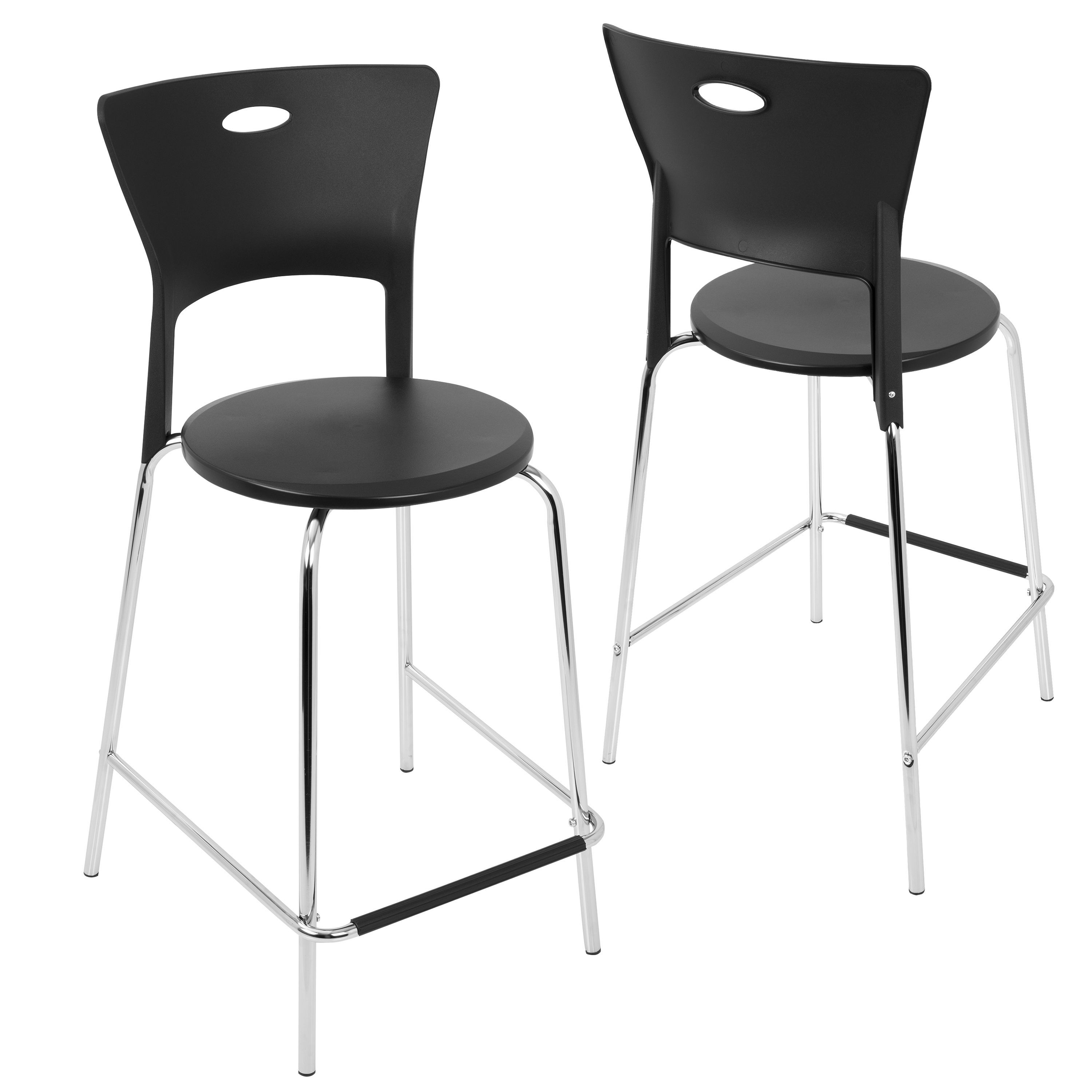 LumiSource Mimi Contemporary Counter Stool in Black with Chrome ...