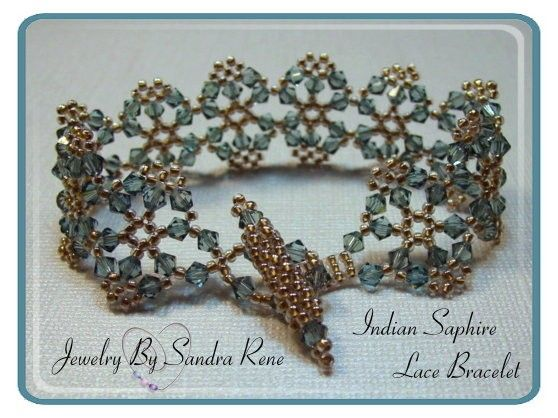 """Indian Sapphire Lace Bracelet by PeridotFalcon on Etsy - This is Deb Roberti's """"Crystal Lace Bracelet"""" pattern which you can buy here: http://www.aroundthebeadingtable.com/Patterns/CrysLace.html"""