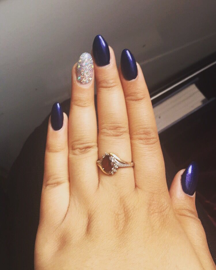 Royal blue navy blue prom nails with silver glitter and rhinestones ...