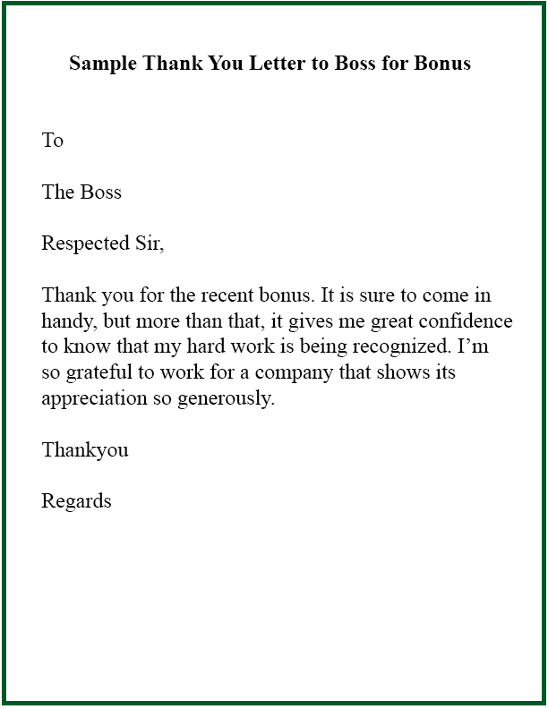 Thank you letter to someone for an award, bonus or raise.
