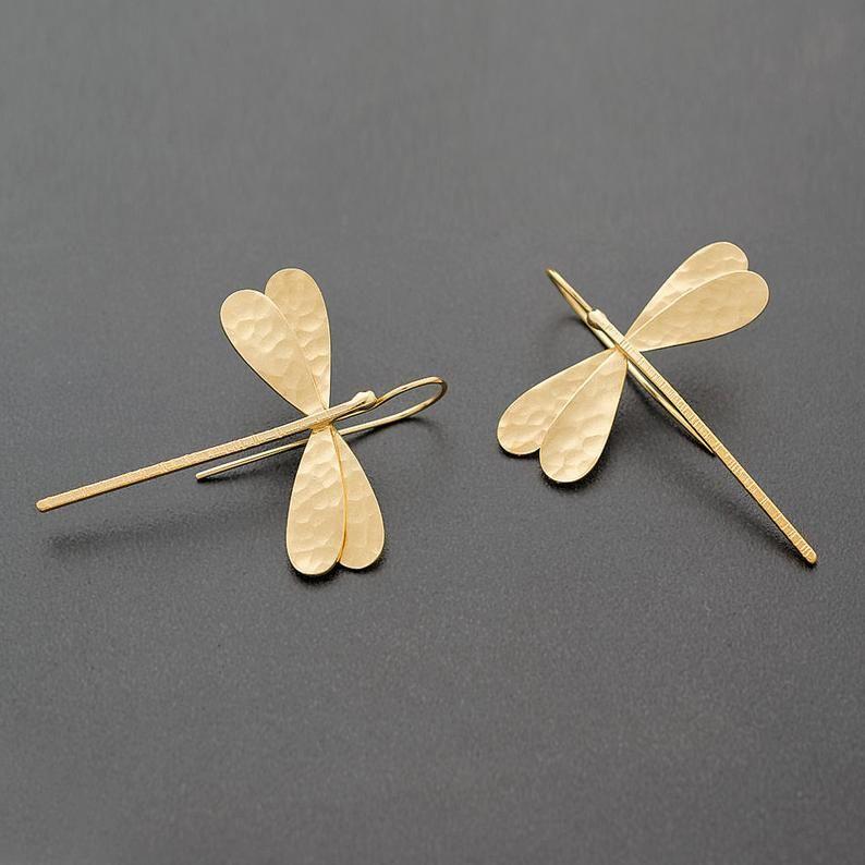 Golden Dragonfly Earrings