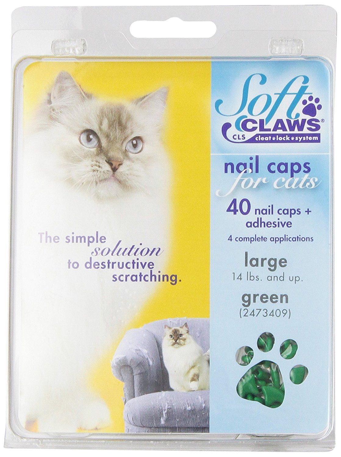 Feline Soft Claws Cat Nail Caps Take Home Kit Large Green You Can Get Additional Details Click The Image Cat Groomin Cat Nail Caps Soft Claws Nail Caps