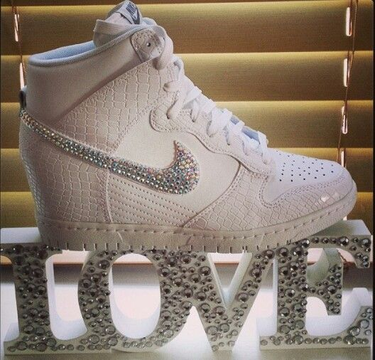 Nike sky hi wedges bling up in ab rhinestones . Nike swarovski wedding shoes   fashion  trainers  swagger  fashion  converse  diamonds 60d54f1fa