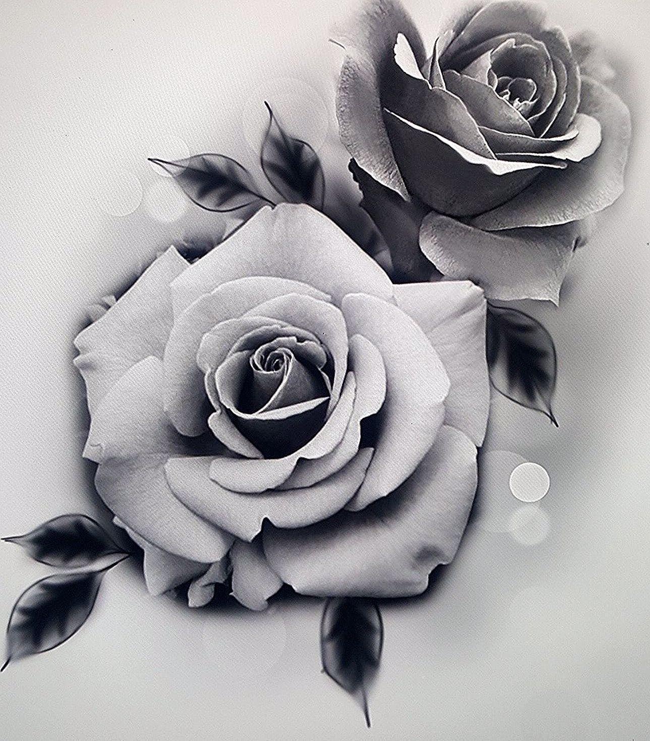 Three Beautiful Roses Temporary Tattoo / Realistic Roses ... |Realistic Rose Tattoos Henna Designs