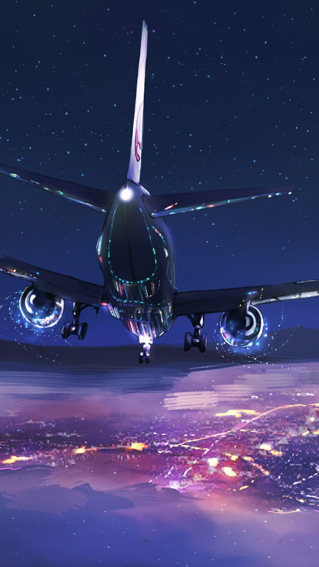 Aircraft Sky Night Flight Digital Art 1080x1920 Wallpaper Airplane Wallpaper Airplane Photography Plane Photography