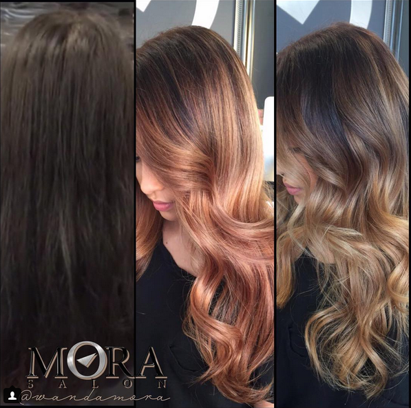Color Correction From Black Box Dye To A Warm Balayage Done By Wanda Color Correction Hair Hair Makeover Hair
