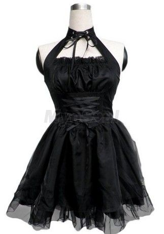 ac80a8dda9 Sexy Black Halter Backless Bandage Pleated Cosplay Lolita Dress FREE  SHIPPING TODAY!