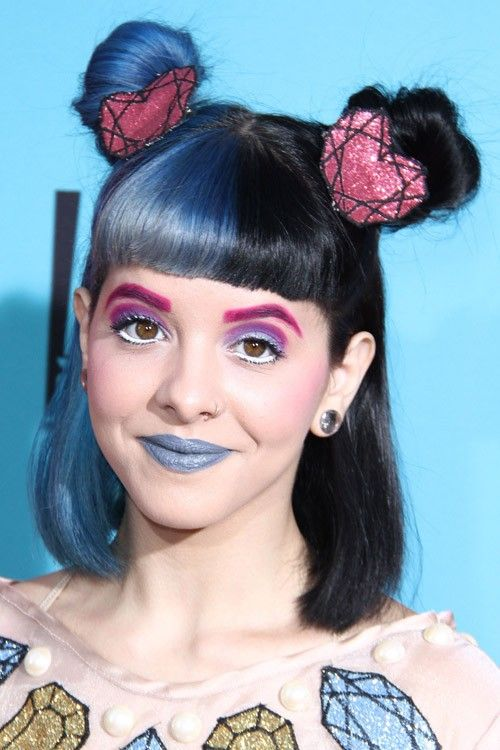 Extreem Melanie Martinez Straight Black, Blue Bob, Multiple Buns, Split @FC85