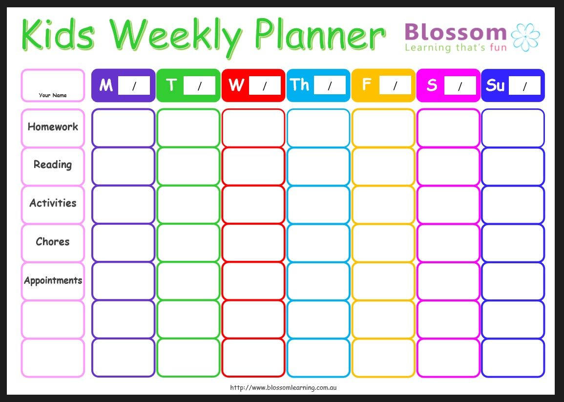Free Back To School Planner Kids Weekly Routine Includes