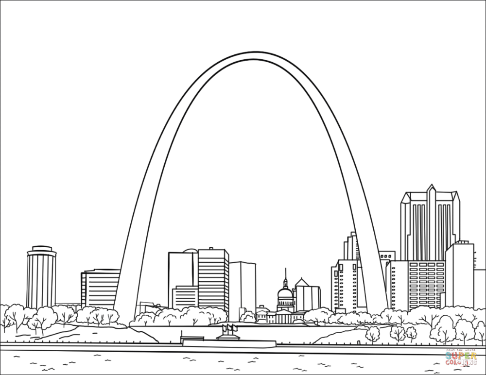 St Louis Gateway Arch Super Coloring In 2020 Saint Louis Arch St Louis Skyline St Louis Gateway Arch