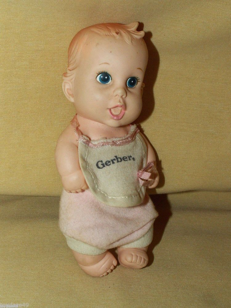 Gerber Products Lucky Ind 1989 Soft Plastic Baby Doll Boy Girl Bib Onesie Cute Dolls Gerber Baby Baby Dolls