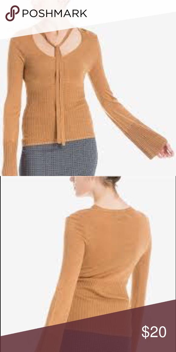 Max Studio London Womens Tie Neck Knit Blouse